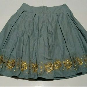 Halogen Teal A-line Skirt with Gold Roses …